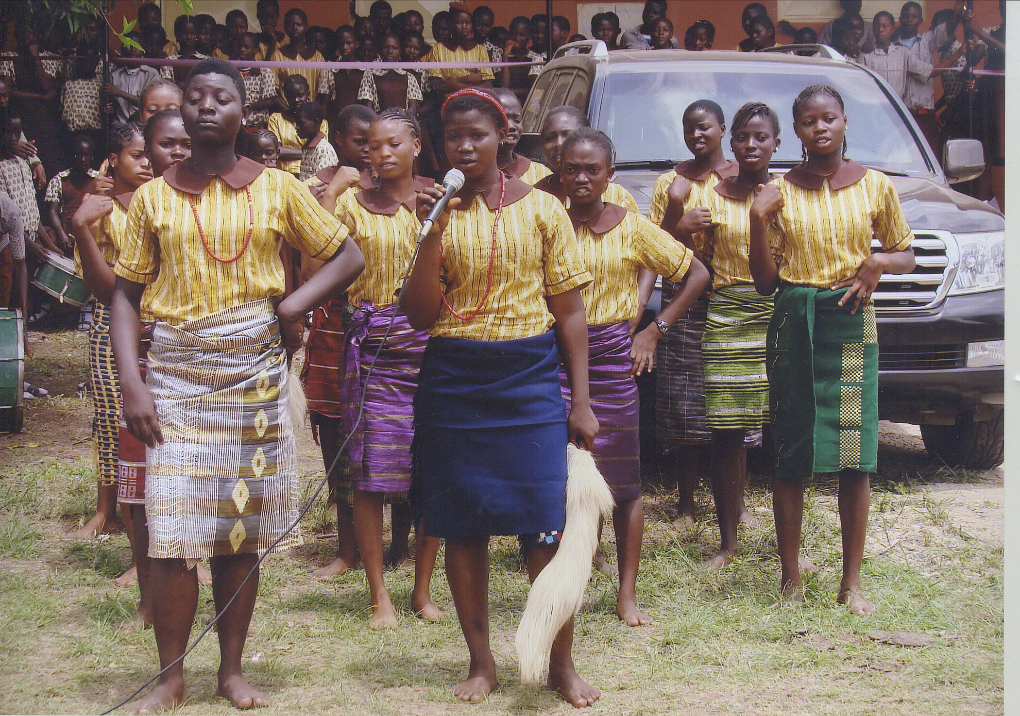 Female Students Performing In Tradional Attire